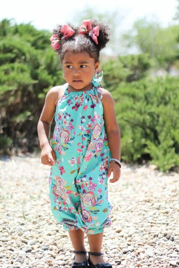 0e1ecbb24 Mint Green Boho Jumpsuit Romper, Floral Baby Clothes, Toddler Romper, One  Piece, Baby Rompers, Kids