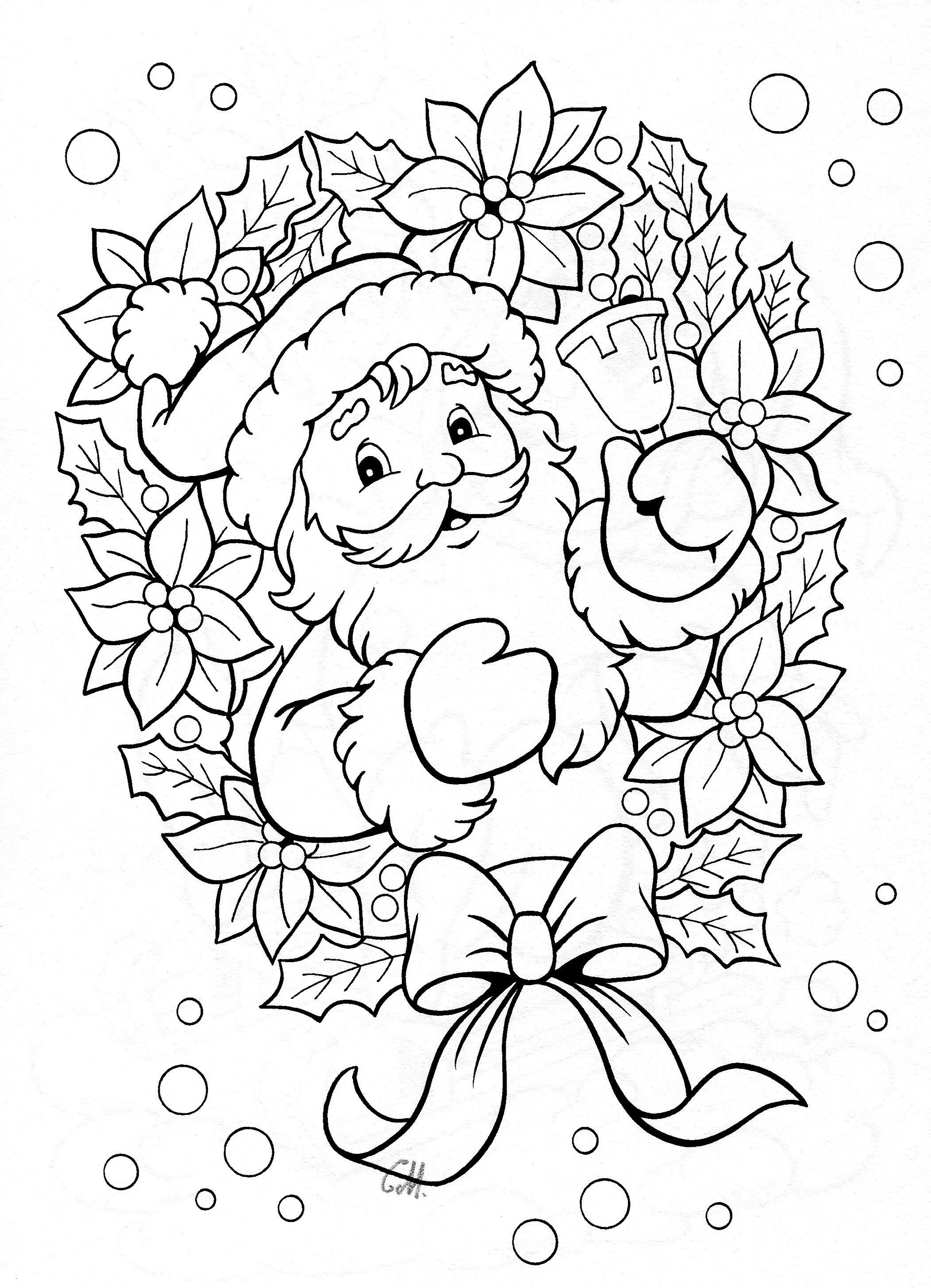Santa poinsettia reef | Coloring pages | Pinterest | Dibujos para ...