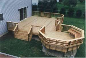 Multi Level Deck with starburst rails and angle bench in octagon level
