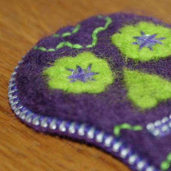 Day of the Dead Inspired Zip and Needle Felted Brooch - Purple and Lime Green