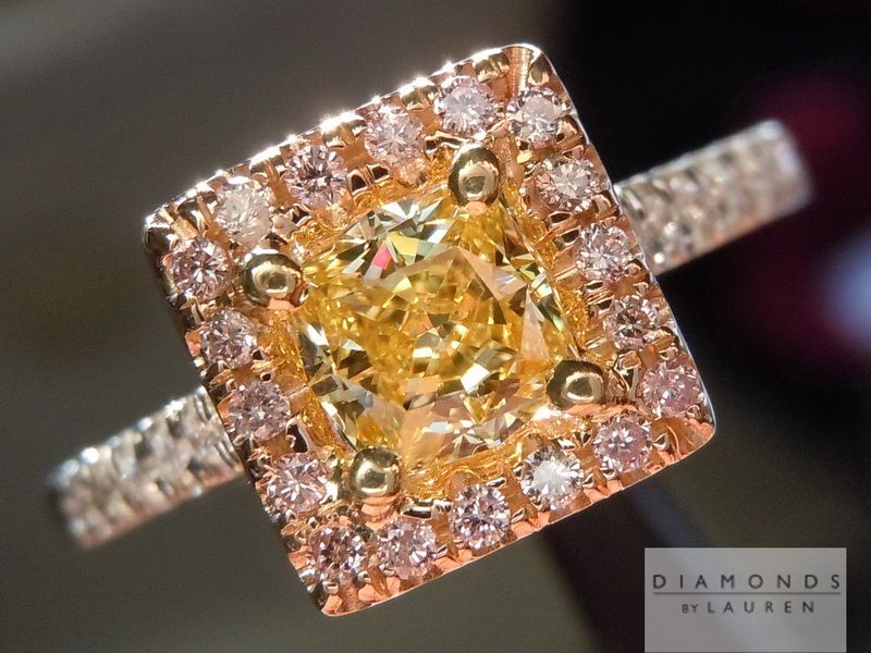 Beautiful and unique - this diamond is a showstopper! 0.56ct Fancy Intense Yellow SI1 Princess Cut GIA $4,795 in Pink Diamonds Halo Ring #YellowDiamondRing #Yellow #Jewelry #Ring #DiamondRing #canaryyellowdiamond #EngagementRing #customjewelry #handmade #beautiful #prettyring #amazing #bridalring #pink #engagementdiamondring