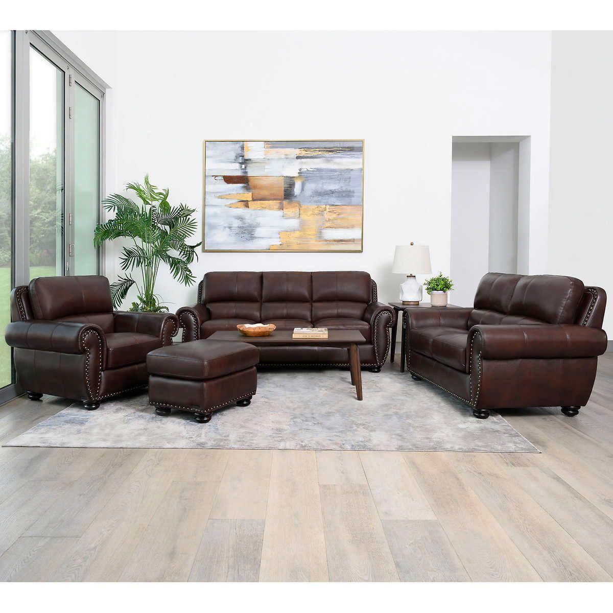 Austin 4 Piece Top Grain Leather Living Room Set In 2020 Living Room Leather Living Room Sets Leather Living Room Set