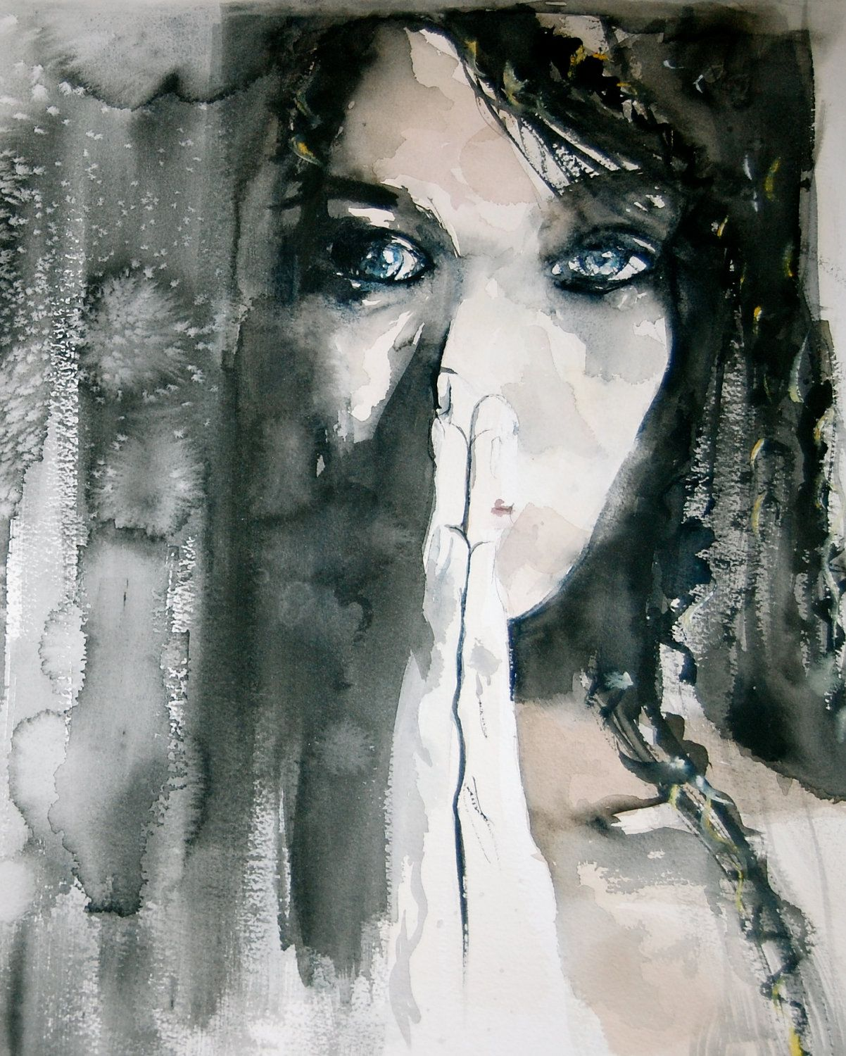 Dark Woman With Blue Eyes Watercolor Painting Print Art Watercolor Paintings Woman With Blue Eyes
