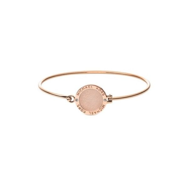 Michael Kors Designer Bracelets Heritage Rose Goldtone Logo Bangle