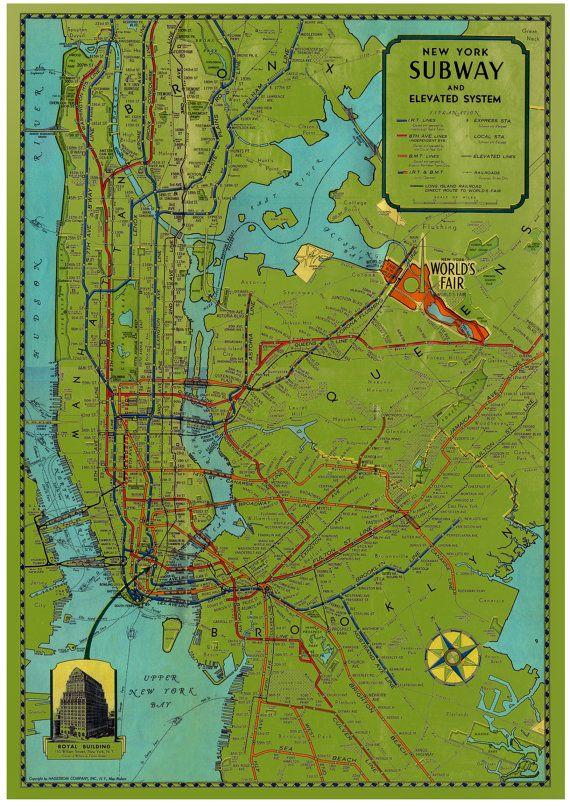 Vintage New York City Subway Map.Vintage New York City Subway Map Posters Pictures Images