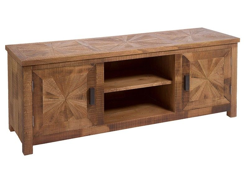 Mueble tv madera maciza con originales puertas y estantes. #rustico ...