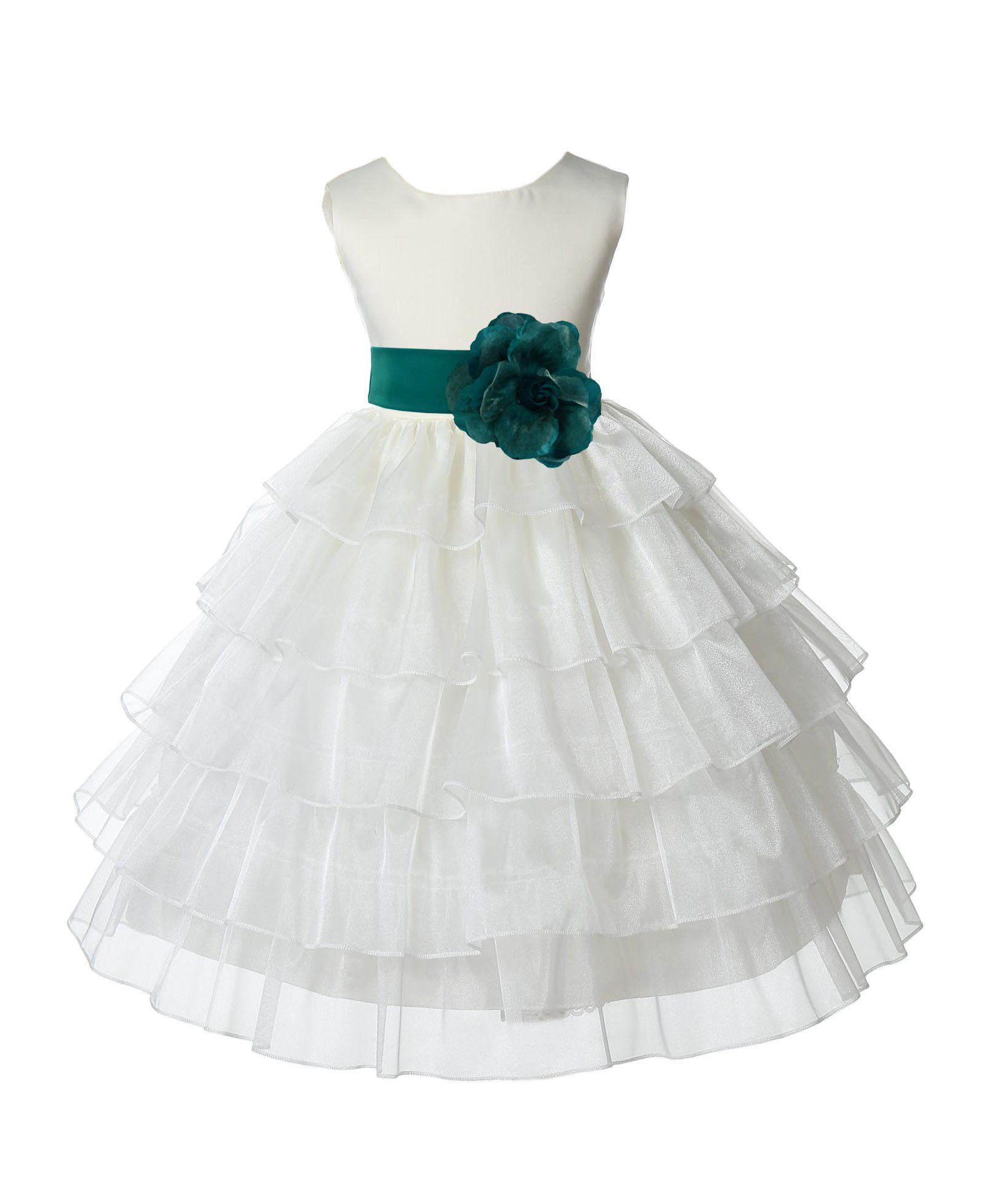Dress to wear at a wedding  Ivory Tired Organza Flower Girl Dress Formal Wear Special Occasions