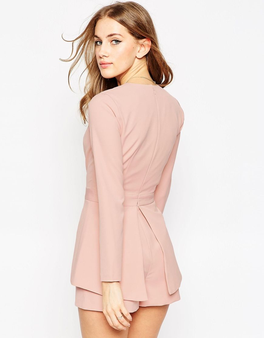 Image 2 of ASOS Plunge Playsuit with Peplum Detail   S P R I N G ...