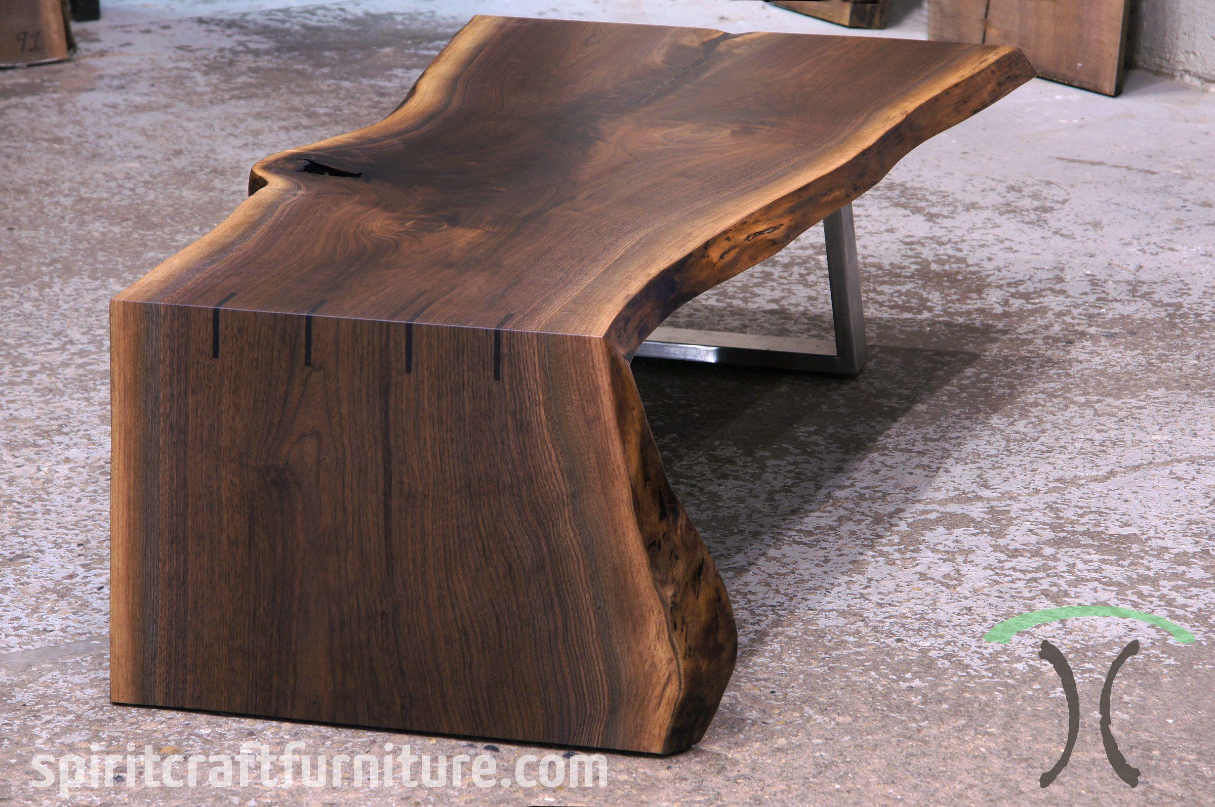 Black Walnut Waterfall Coffee Table Solid Wood Table Tops Hardwood Table Live Edge Dining Table
