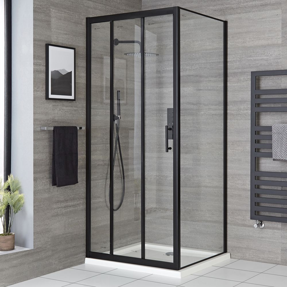 Milano Nero Black Corner Sliding Door Shower Enclosure With Tray Choice Of Sizes In 2020 Shower Enclosure Sliding Shower Door Shower Doors