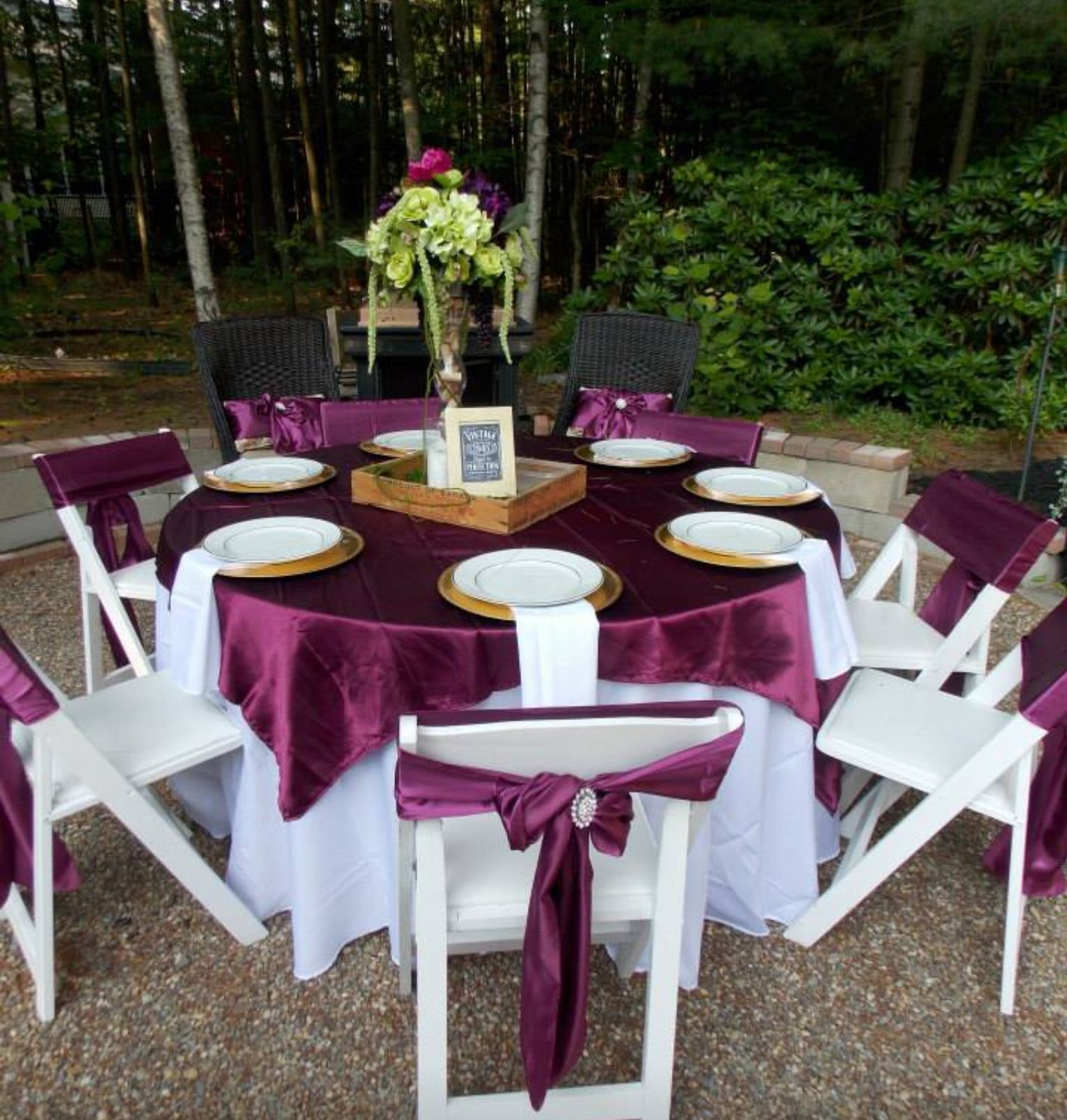 Lovely White Tablecloth with Sangria Satin Overlays and Chair