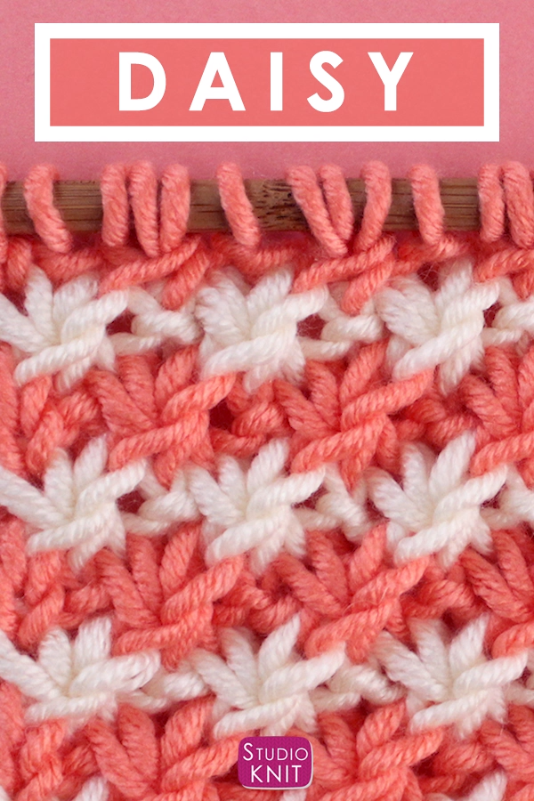 Photo of How to Knit the Daisy Flower Stitch with Studio Knit