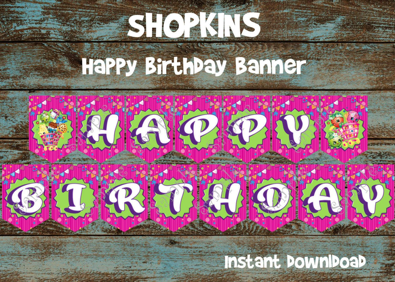 Happy Birthday Printable ~ Shopkins banner shopkins happy birthday banner shopkins birthday
