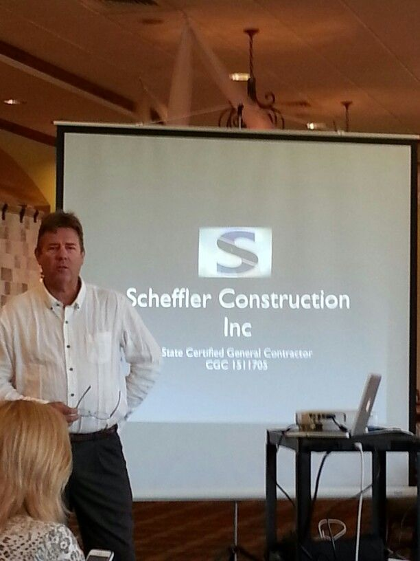 "Kurt Scheffler speaks on Scheffler Construction.  We were pleased to welcome Derek Felbinger, ""web guy"" and rep from Comcast business as prospective new members."