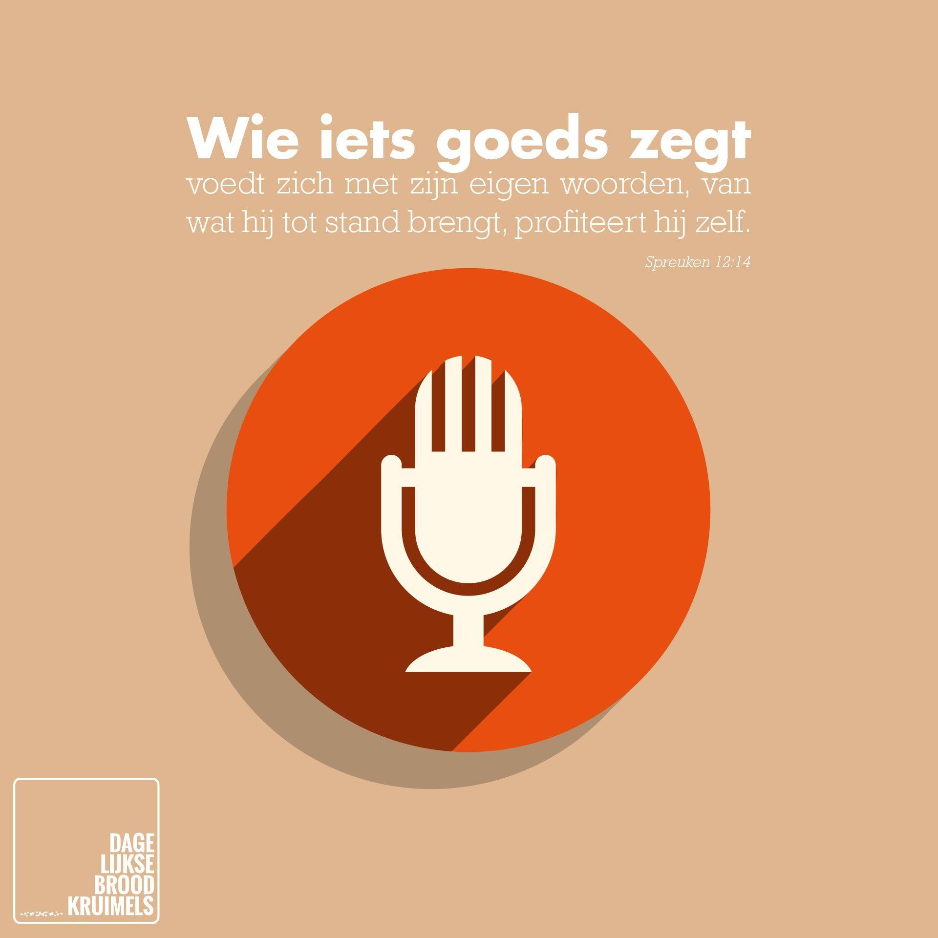 Wie iets goeds zegt, voedt zich met zijn eigen woorden, van wat hij tot stand brengt, profiteert hij zelf. Spreuken 12:14  #Spreken, #Woorden  http://www.dagelijksebroodkruimels.nl/quotes-bijbel/spreuken-12-14/