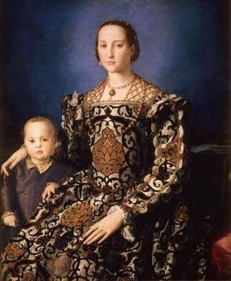 An amazing portrait of Eleonora of Toledo with her son Giovanni de Medici. (The detail on this painting is amazing!)