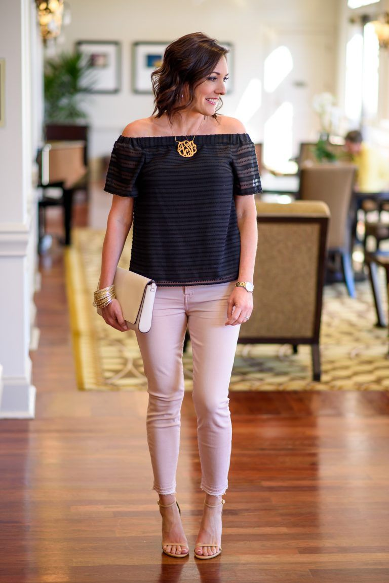 Spring/Summer Date Night Outfit with Pink Jeans  Date night