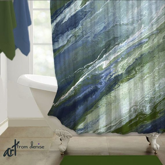 Navy blue SHOWER CURTAIN, Abstract art, Olive green sage, Bathroom ...