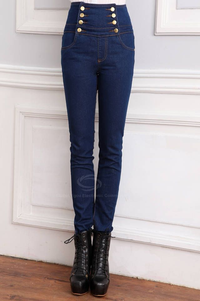 Double-Breasted Wholesale High Waist Jeans Pencil Pants For Women. I'd want it black though.