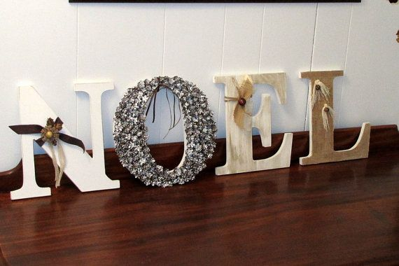 Add Charm To Your Holiday D Cor With This Gorgeous Noel Wooden Letters Sign Each Letters
