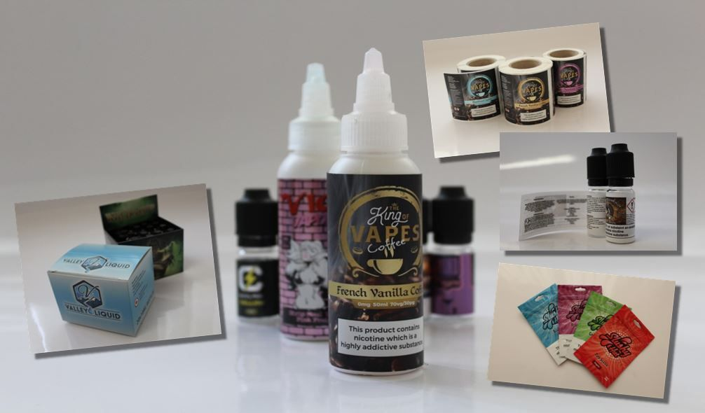 Bottle labels for vaping and vape juice eliquid available from CS