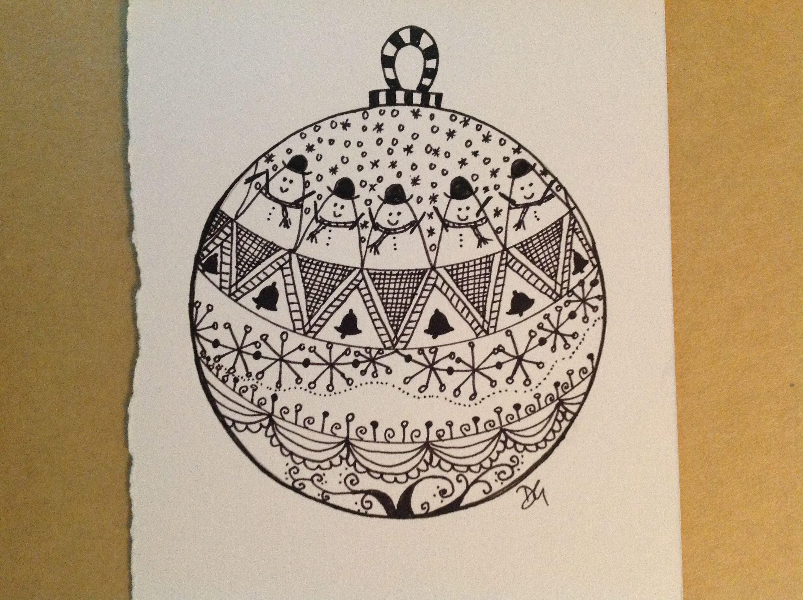 Zentangle Christmas Bauble Zentangle Patterns Christmas Drawing Christmas Doodles