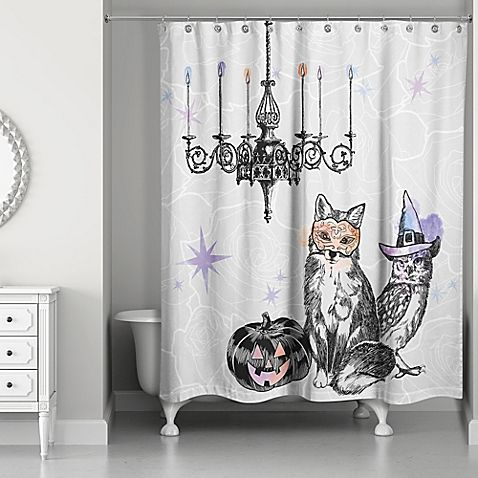The Watercolored Festive Animals Shower Curtain Creates A Spooky