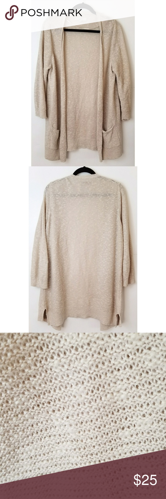 LOFT Long Chunky Knit Sweater Cardigan w/ Pockets | Long cardigan ...