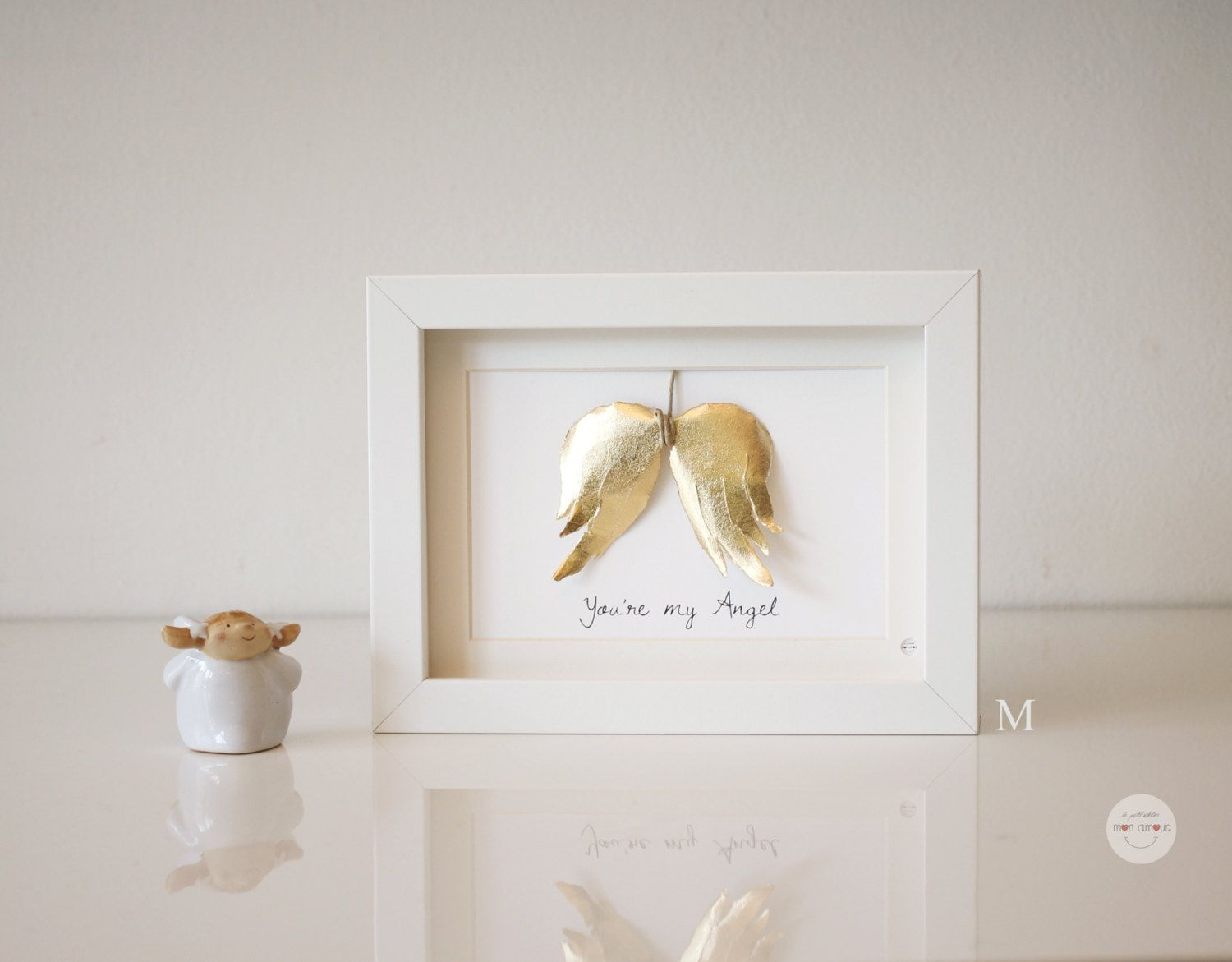 Best friend gift wedding gift baby baptism gift youre my best friend gift wedding gift baby baptism gift youre my angel angels wings paper 3d gold leaf hand made frame with glass jeuxipadfo Image collections