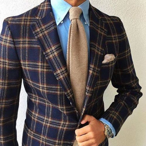 Beige necktie with statement navy plaid jacket!