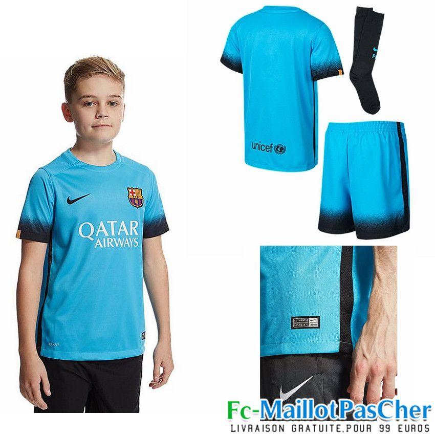 nouveau maillots fc barcelone bleu enfant third 15 2016 2017 maillot de foot barcelone enfant. Black Bedroom Furniture Sets. Home Design Ideas