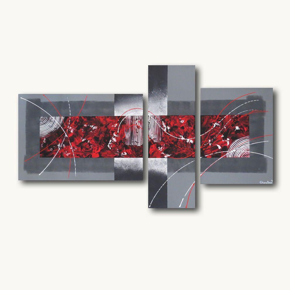 Tableau Triptyque Toile Design Rouge Gris Noir Contemporain Moderne