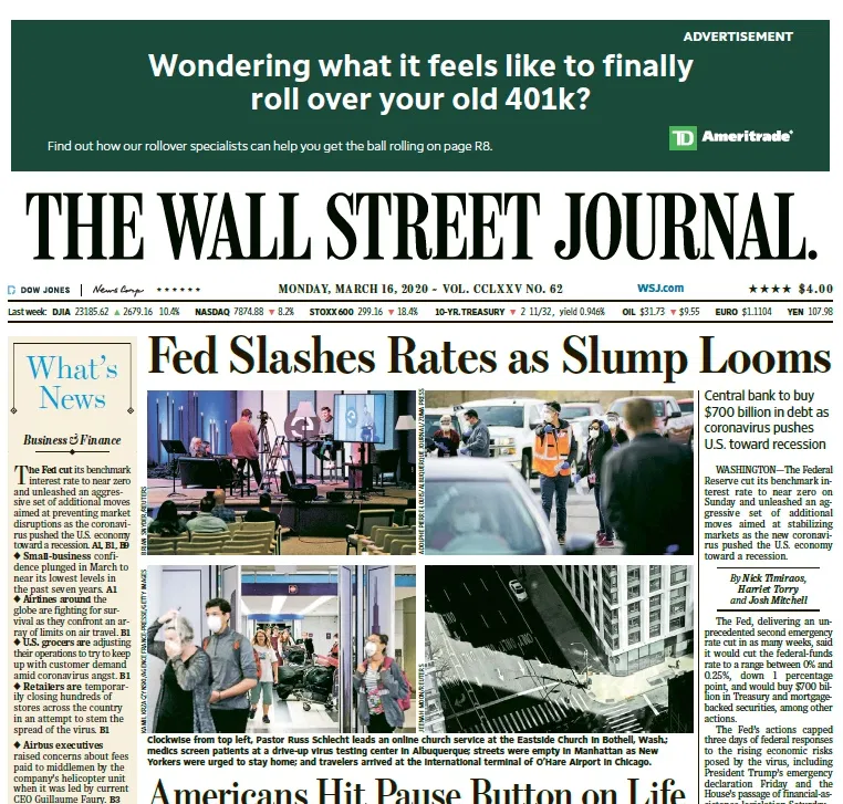The Wall Street Journal 16 03 2020 Free For Book Wall Street Journal Wall Street Journal