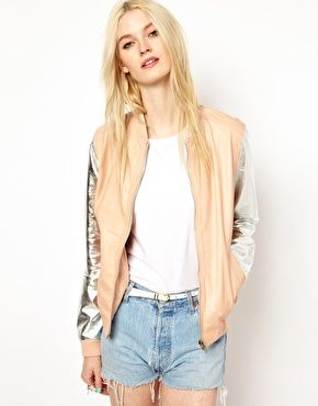 Sasha Leather Bomber Jacket in Peach with Silver Sleeve