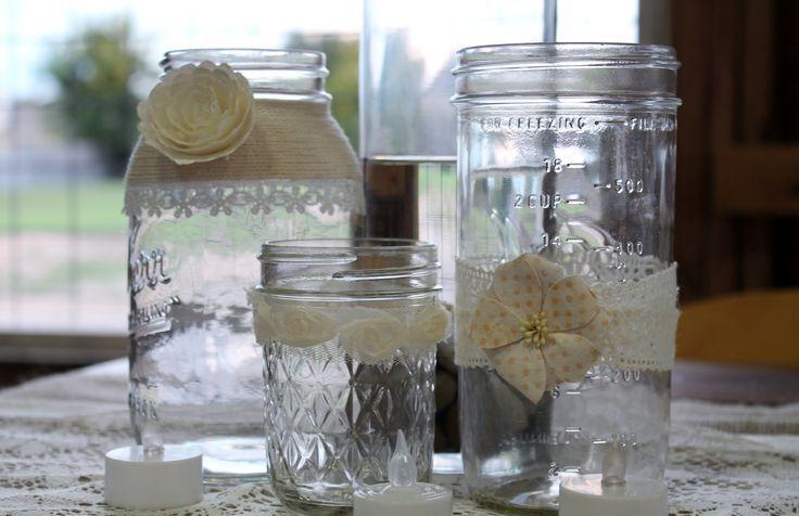 Rustic Wedding Decorations Mason Jars | Mason jar décor Vintage rustic wedding ideas ... | Now why didnt i th ...