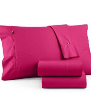 Tommy Hilfiger Solid Core Twin Xl Sheet Set - Pink