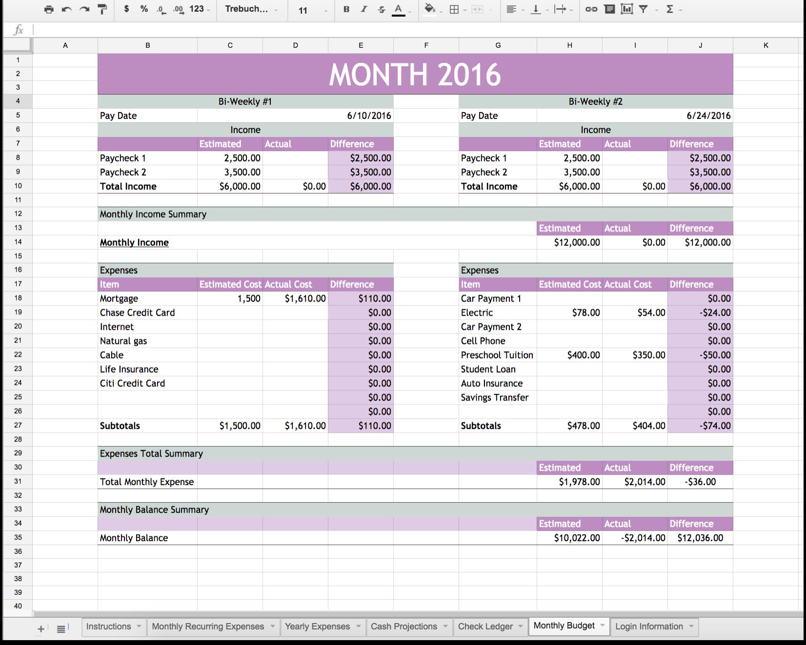 Easy Family Budget Spreadsheet