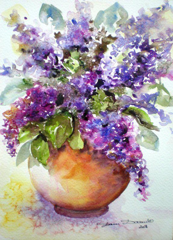 Dam domido aquarelle de fleurs bouquet de lilas for Aquarelle fleurs