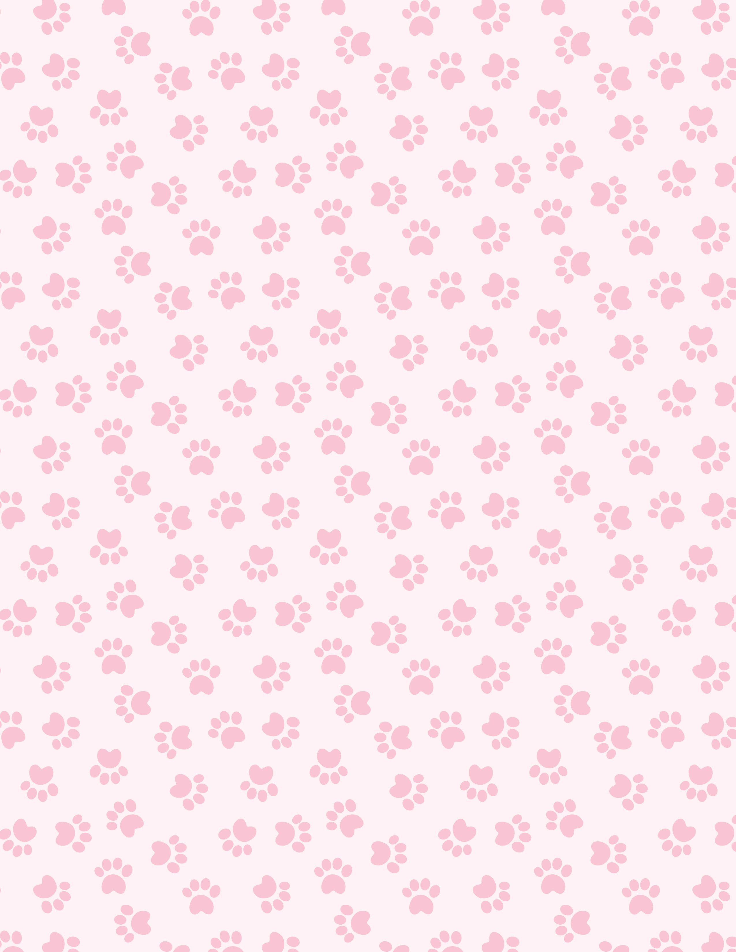 Pale Pink Paw Print Paper Pattern Might Work For Animals Besides Dogs And Cats