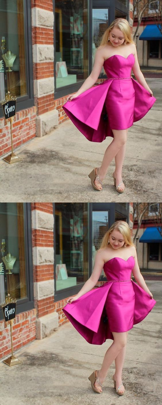 Sexy strapless fuchsia party dress cocktail dresscheap homecoming