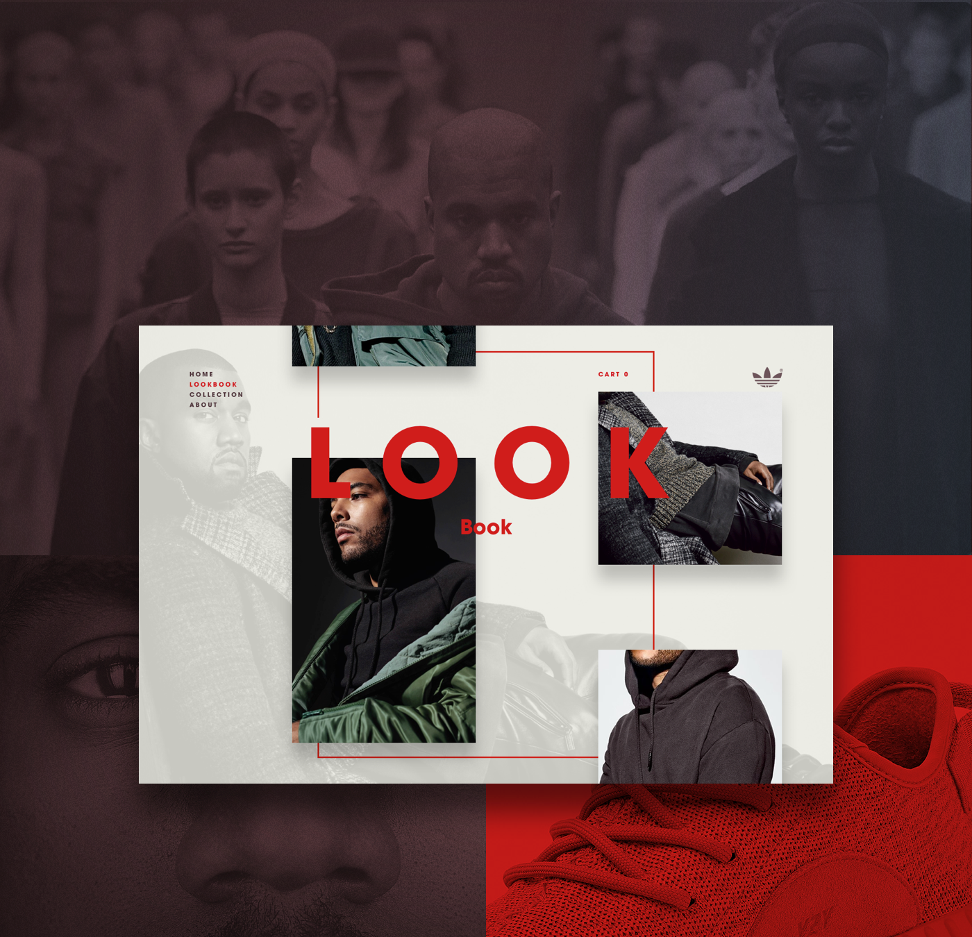 disculpa ilegal Superposición  Concept for Adidas Yeezy Collection. There is no stand alone site for this  great collection by Kanye … | Web inspiration, Page layout design, Web  design inspiration