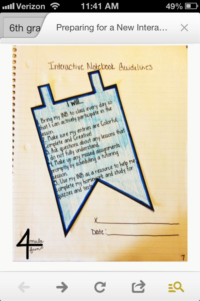 Interactive Notebook Student Contract Math Notebook Pinterest