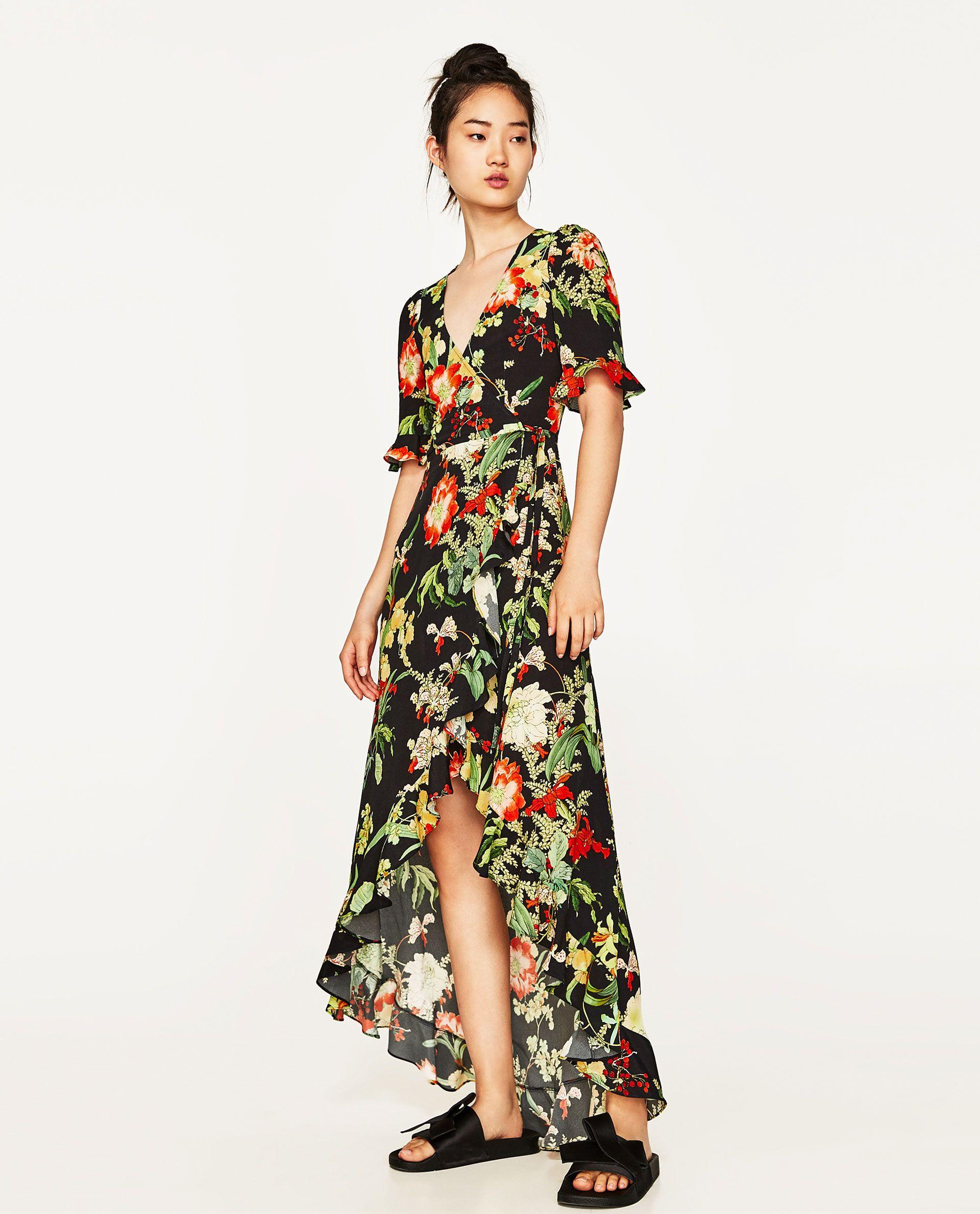 bc00af3a32 ZARA - WOMAN - LONG FLORAL PRINT DRESS