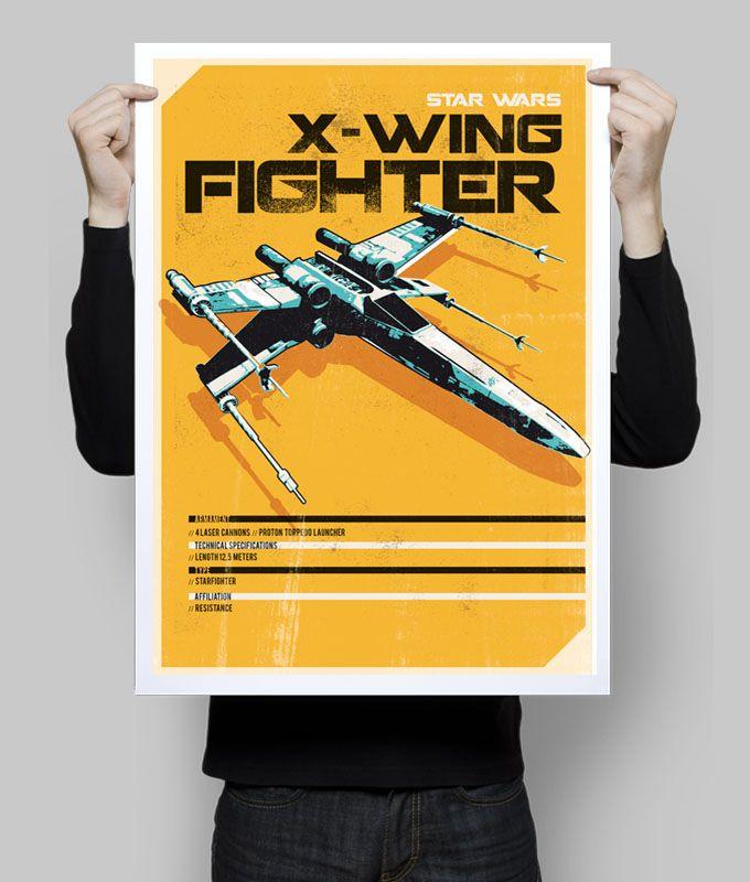 Star wars X Wing fighter spaceship alternative poster art digital ...