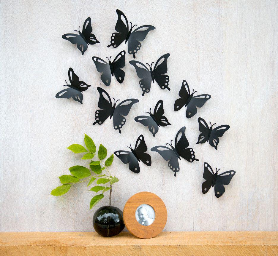 Butterfly Wall Art Pop Up Black Butterflies 3d Wall Decor Set