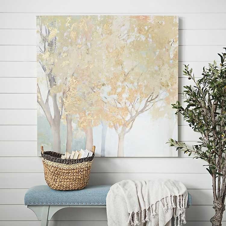 Gold trees canvas art print kirklands wall decor