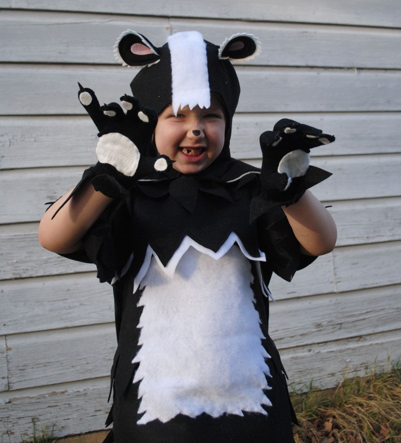 child or adult deluxe skunk costume black and white stripe for
