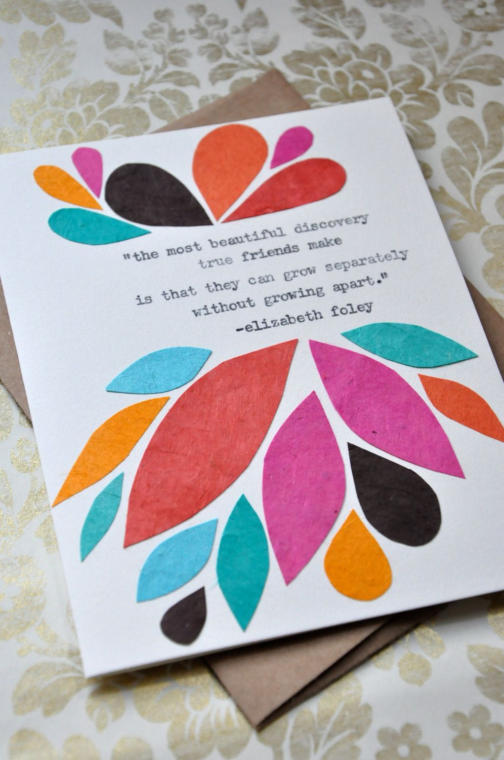 Birthday Card Handmade Greeting Card Friendship Quote Abstract