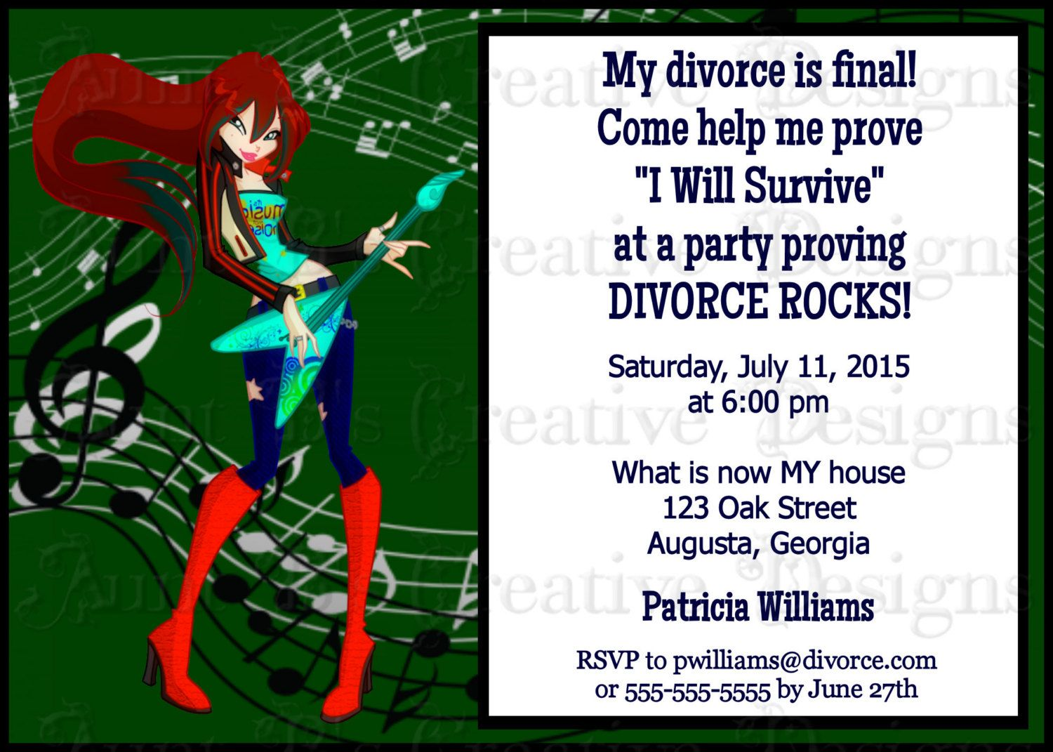 Divorce Rocks Divorce Party Invitation, Rockin\' Divorce Party ...