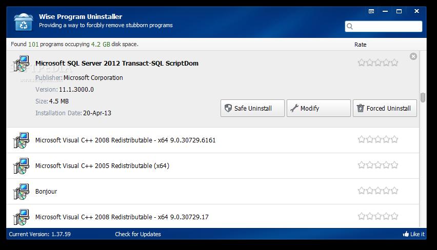 برنامج Wise Program Uninstaller لحذف البرامج وازالة مخلفاتها Microsoft Sql Server Windows Xp Sql Server